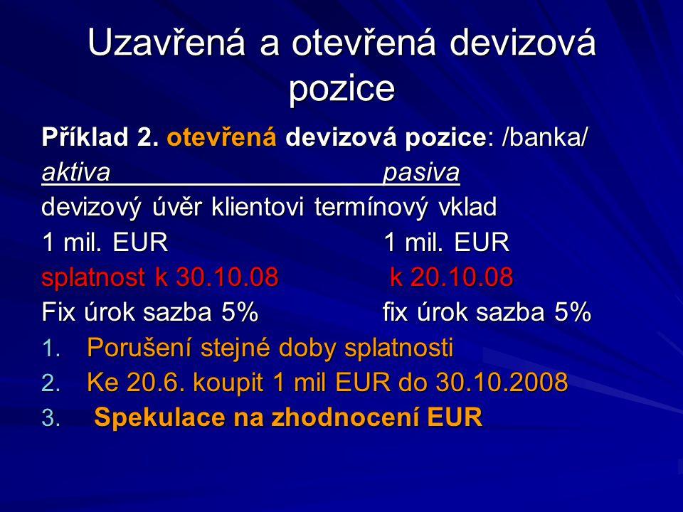 Uzavřená a otevřená devizová pozice Příklad 2. otevřená devizová pozice: /banka/ aktivapasiva devizový úvěr klientovitermínový vklad 1 mil. EUR1 mil.
