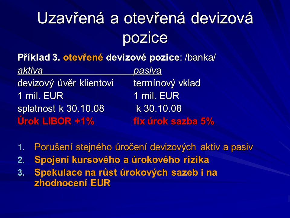 Uzavřená a otevřená devizová pozice Příklad 3. otevřené devizové pozice: /banka/ aktivapasiva devizový úvěr klientovitermínový vklad 1 mil. EUR1 mil.