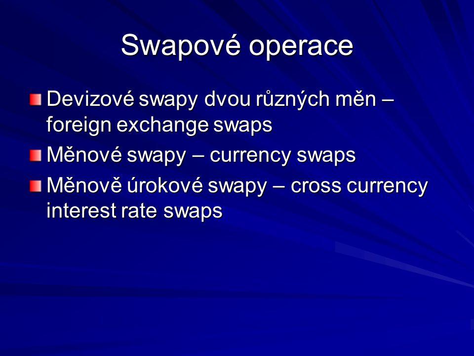 Swapové operace Devizové swapy dvou různých měn – foreign exchange swaps Měnové swapy – currency swaps Měnově úrokové swapy – cross currency interest