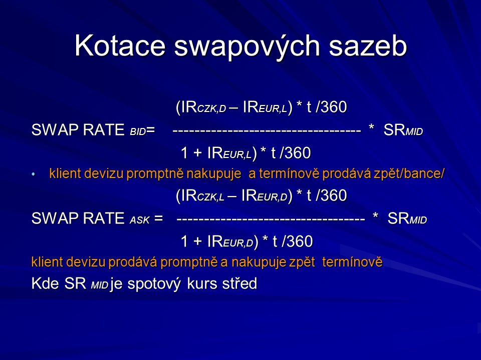 (IR CZK,D – IR EUR,L ) * t /360 SWAP RATE BID = ----------------------------------- * SR MID 1 + IR EUR,L ) * t /360 1 + IR EUR,L ) * t /360 klient de