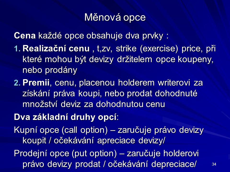 Měnová opce Cena každé opce obsahuje dva prvky : 1. Realizační cenu, t,zv, strike (exercise) price, při které mohou být devizy držitelem opce koupeny,