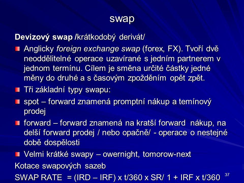 swap Devizový swap /krátkodobý derivát/ Anglicky foreign exchange swap (forex, FX). Tvoří dvě neoddělitelné operace uzavírané s jedním partnerem v jed