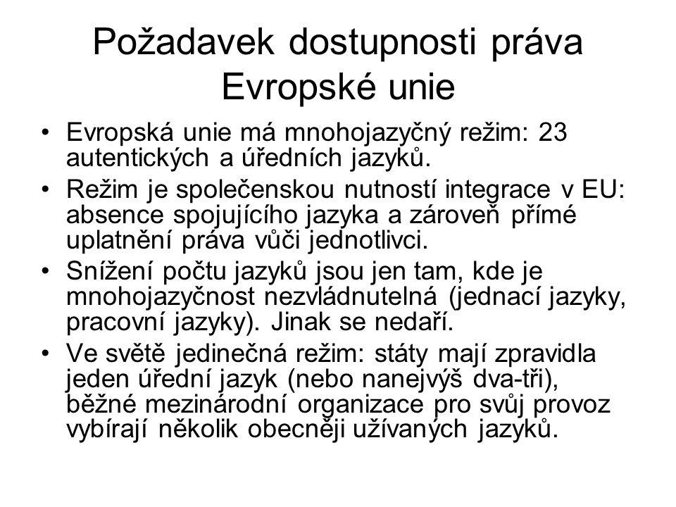 Požadavek dostupnosti práva Evropské unie Evropská unie má mnohojazyčný režim: 23 autentických a úředních jazyků. Režim je společenskou nutností integ