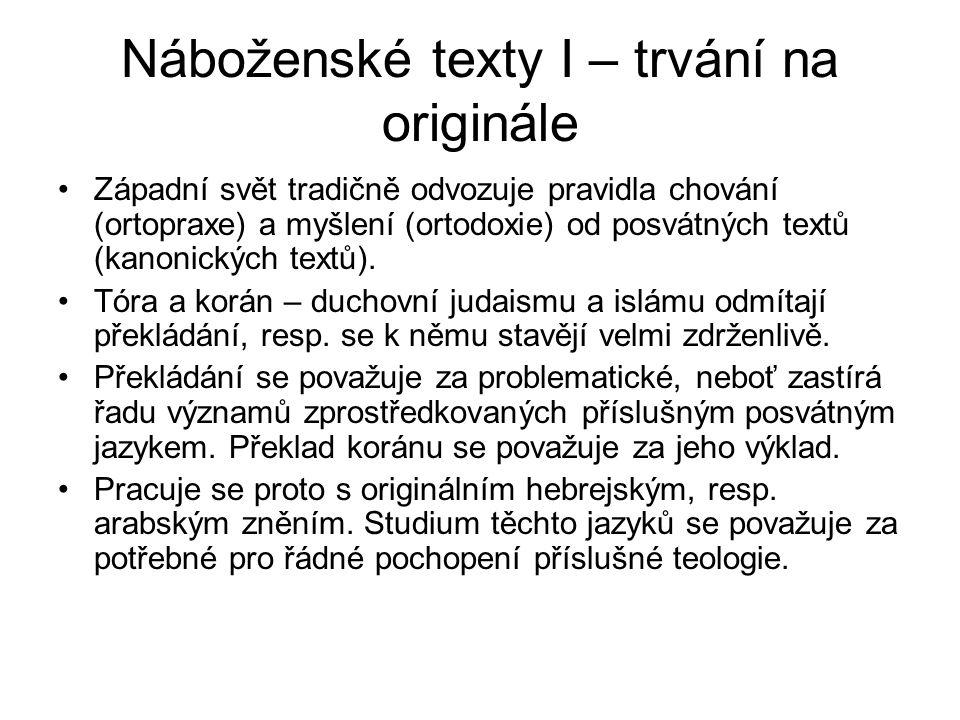 Náboženské texty I – trvání na originále Západní svět tradičně odvozuje pravidla chování (ortopraxe) a myšlení (ortodoxie) od posvátných textů (kanoni