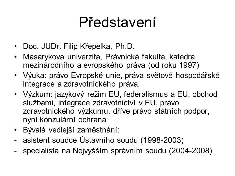 Představení Doc. JUDr. Filip Křepelka, Ph.D. Masarykova univerzita, Právnická fakulta, katedra mezinárodního a evropského práva (od roku 1997) Výuka: