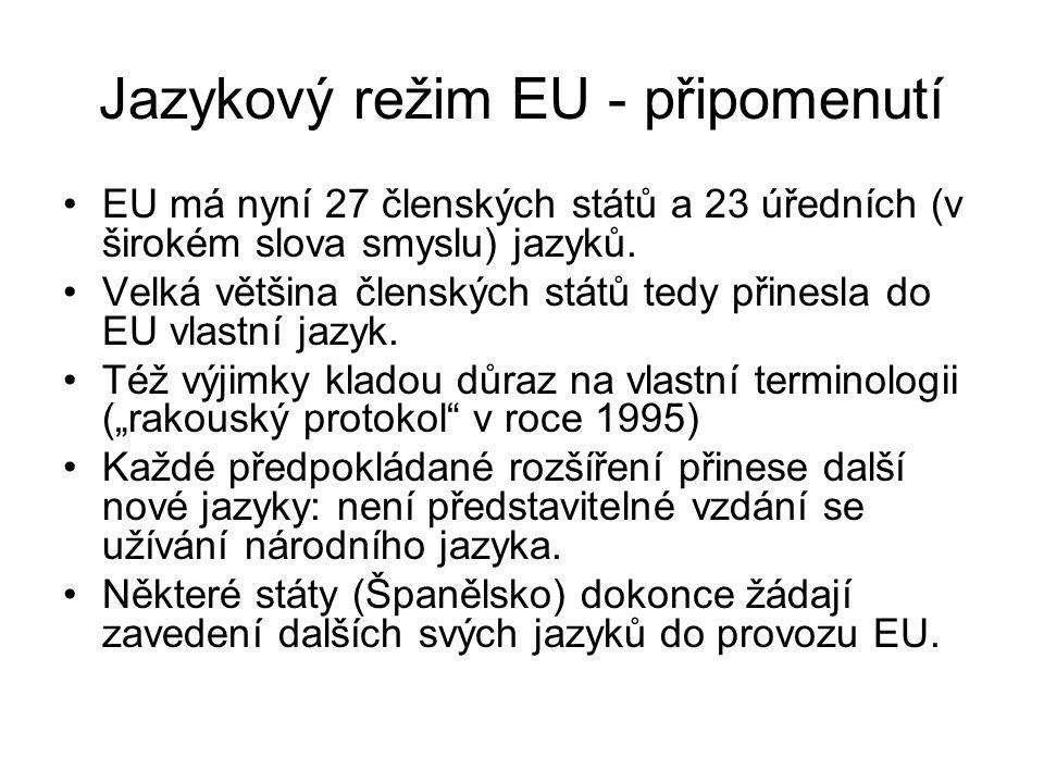 Jazykový režim EU - připomenutí EU má nyní 27 členských států a 23 úředních (v širokém slova smyslu) jazyků. Velká většina členských států tedy přines