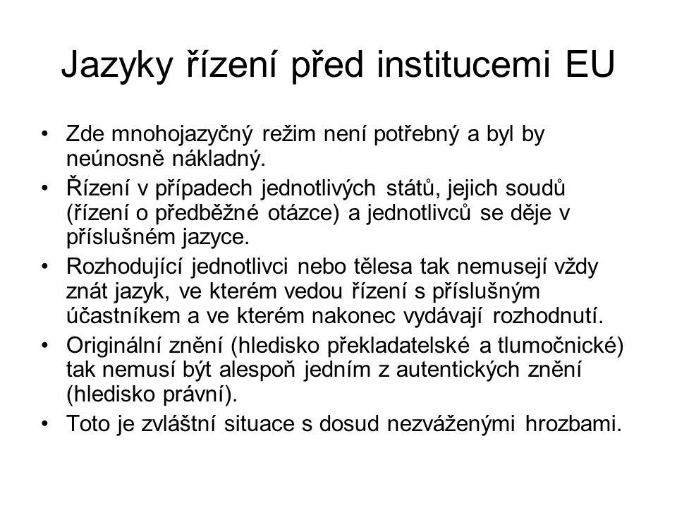 Jazyky řízení před institucemi EU Zde mnohojazyčný režim není potřebný a byl by neúnosně nákladný. Řízení v případech jednotlivých států, jejich soudů