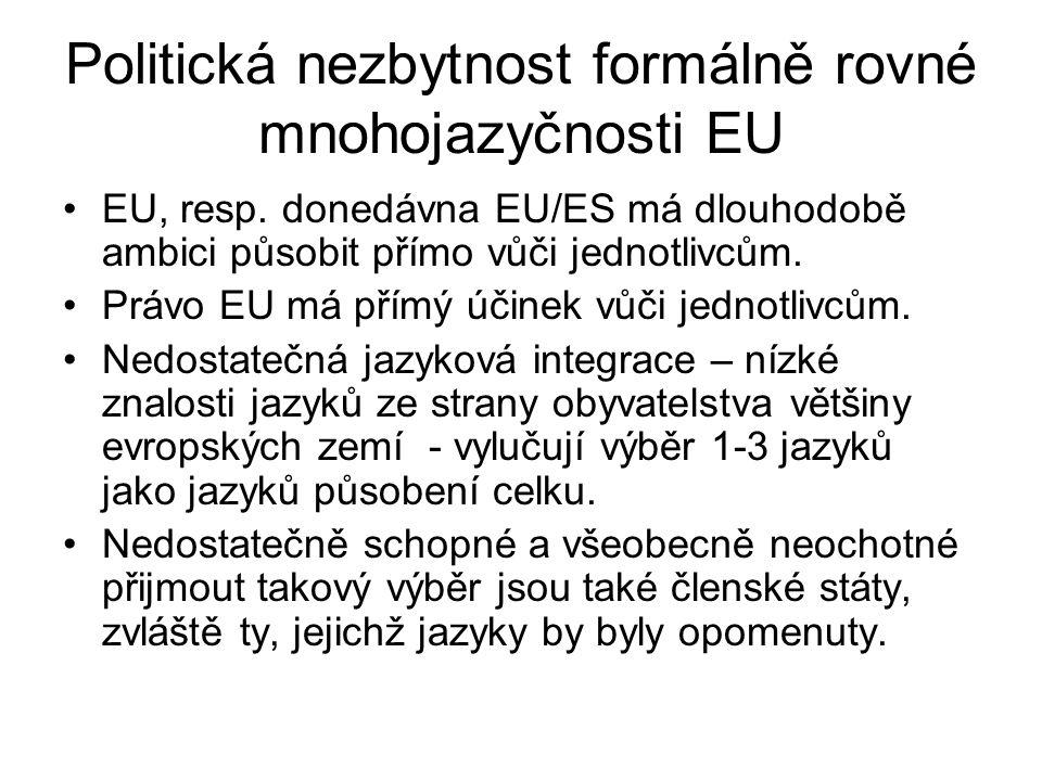 Politická nezbytnost formálně rovné mnohojazyčnosti EU EU, resp. donedávna EU/ES má dlouhodobě ambici působit přímo vůči jednotlivcům. Právo EU má pří