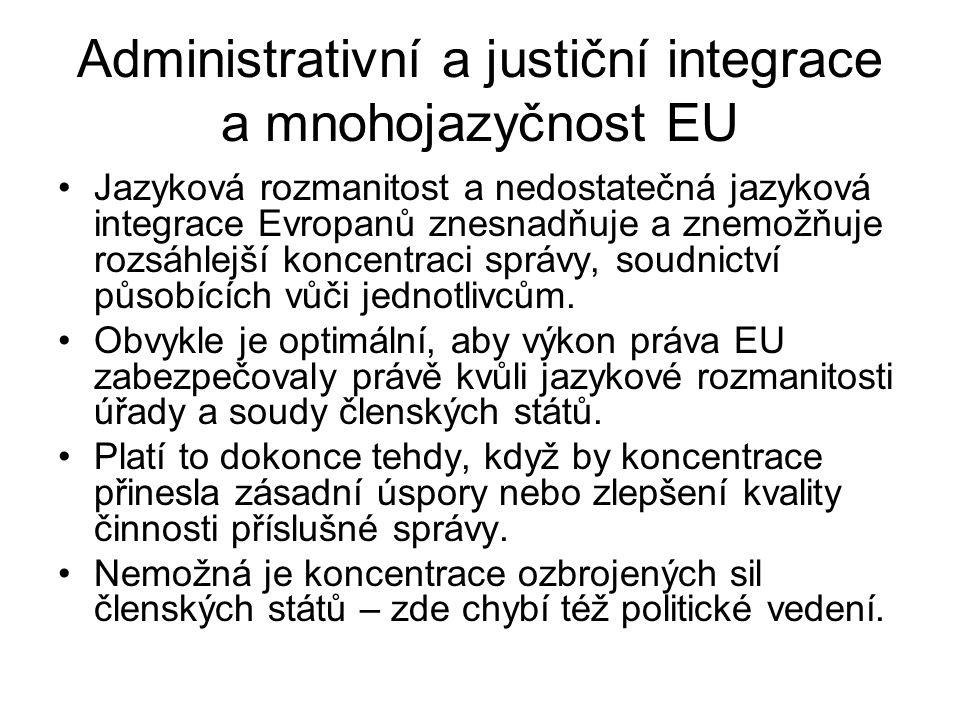 Administrativní a justiční integrace a mnohojazyčnost EU Jazyková rozmanitost a nedostatečná jazyková integrace Evropanů znesnadňuje a znemožňuje rozs