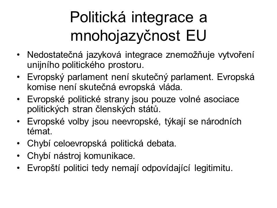 Politická integrace a mnohojazyčnost EU Nedostatečná jazyková integrace znemožňuje vytvoření unijního politického prostoru. Evropský parlament není sk