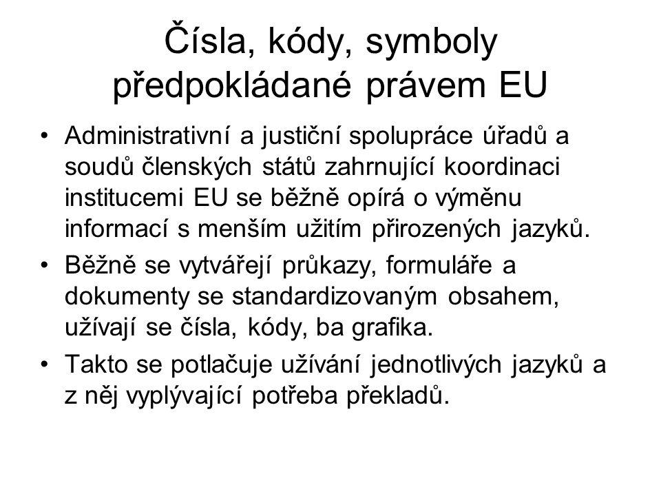 Čísla, kódy, symboly předpokládané právem EU Administrativní a justiční spolupráce úřadů a soudů členských států zahrnující koordinaci institucemi EU