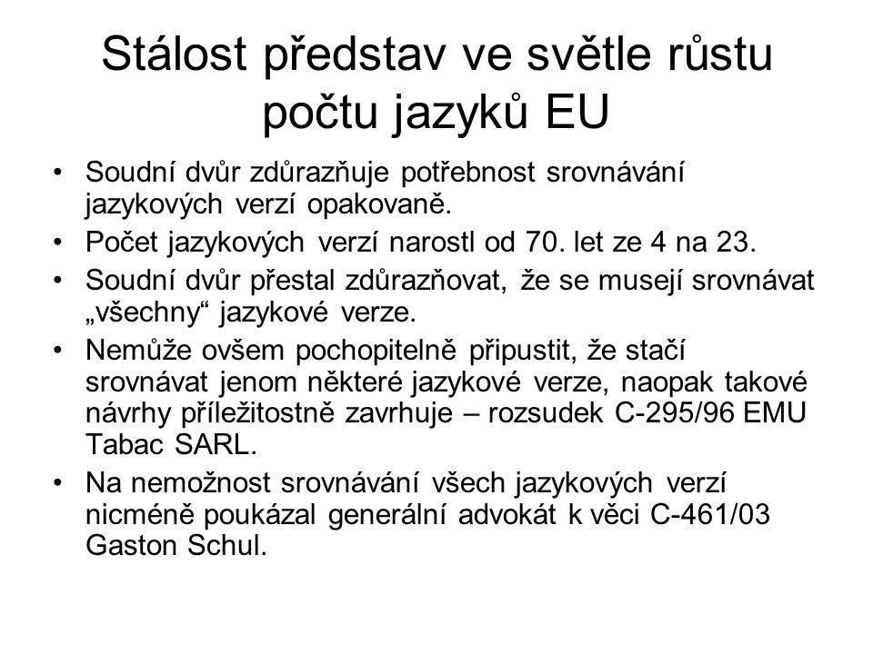 Stálost představ ve světle růstu počtu jazyků EU Soudní dvůr zdůrazňuje potřebnost srovnávání jazykových verzí opakovaně. Počet jazykových verzí naros