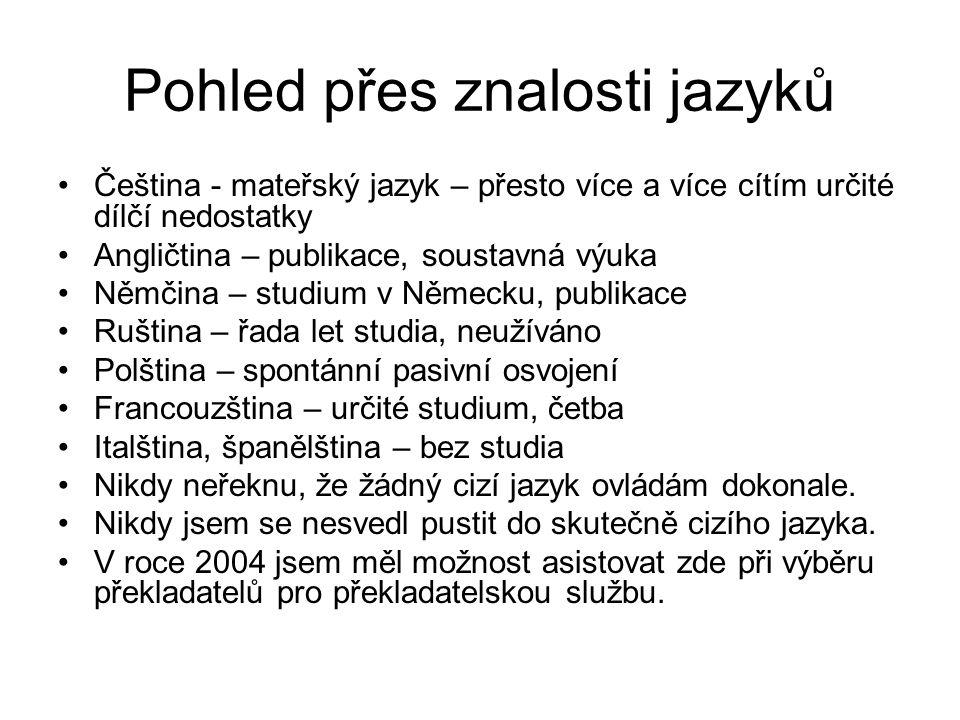 Pohled přes znalosti jazyků Čeština - mateřský jazyk – přesto více a více cítím určité dílčí nedostatky Angličtina – publikace, soustavná výuka Němčin