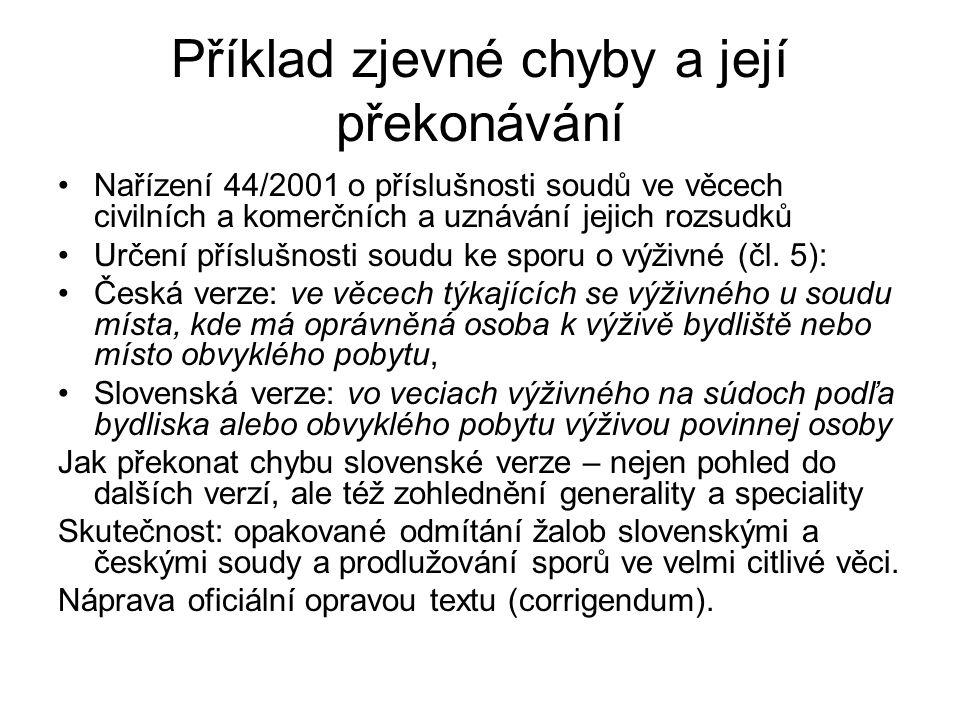 Příklad zjevné chyby a její překonávání Nařízení 44/2001 o příslušnosti soudů ve věcech civilních a komerčních a uznávání jejich rozsudků Určení přísl