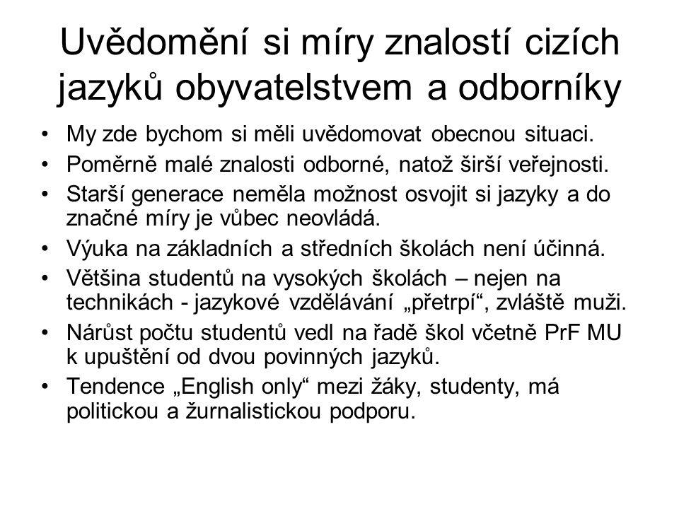 Uvědomění si míry znalostí cizích jazyků obyvatelstvem a odborníky My zde bychom si měli uvědomovat obecnou situaci. Poměrně malé znalosti odborné, na