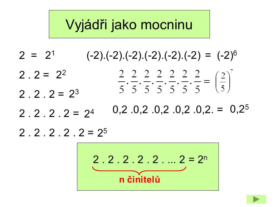 Vyjádři jako mocninu 2 = 2. 2 = 2. 2. 2 = 2. 2. 2. 2 = 2. 2. 2. 2. 2 = n činitelů (-2).(-2).(-2).(-2).(-2).(-2) = 2. 2. 2. 2. 2.... 2 = 2 n 2121 2 232