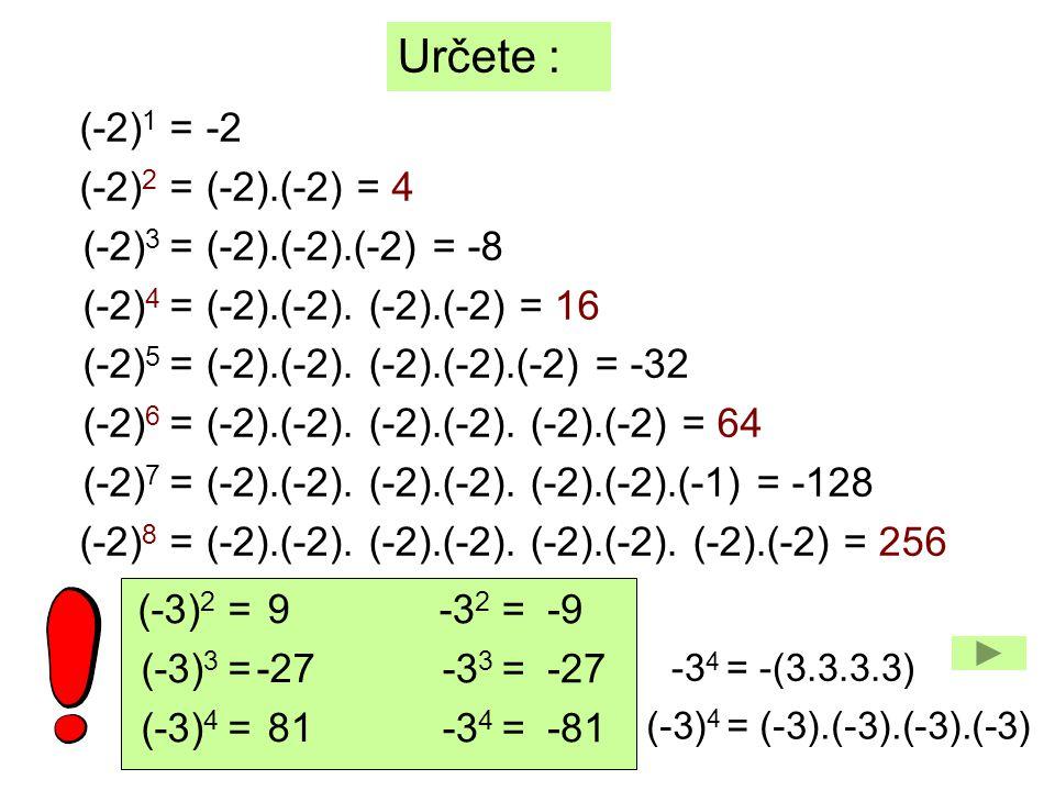 10 1 = 10 2 = 10 3 = 10 4 = 10 5 = 10 6 = Určete : 10 100 1 000 10.10.10.10 = 10 000 10.10.10.10.10 = 100 000 10.10.10.10.10.10 = 1 000 000 10 0 = 1 mocnitel = počet nul ÚKOL