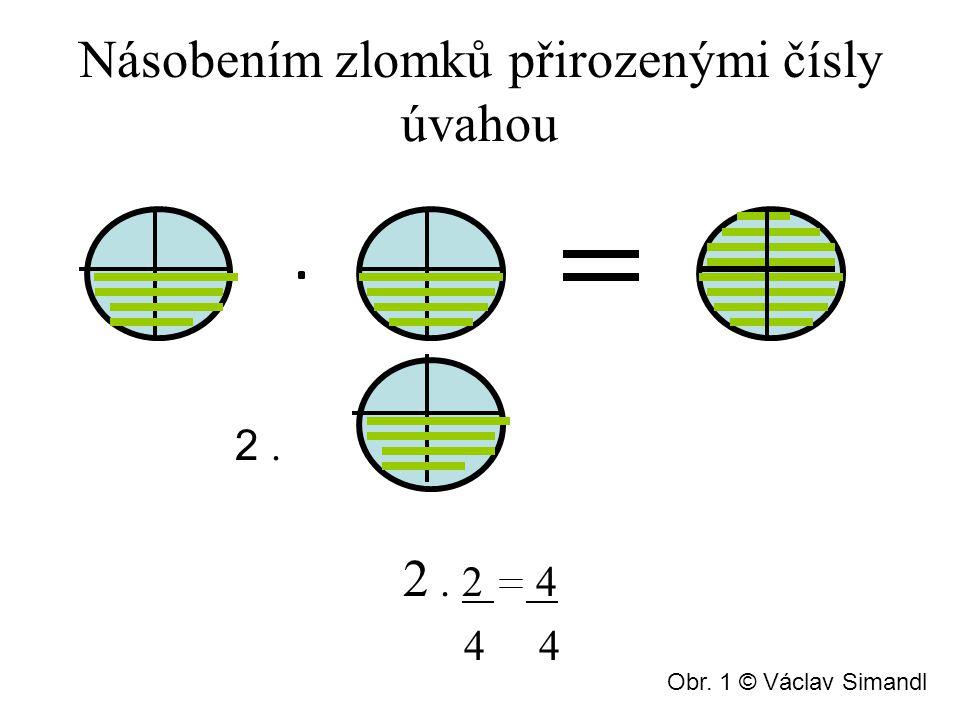 Násobením zlomků přirozenými čísly úvahou 2. 2. 2 4 4 4 Obr. 1 © Václav Simandl