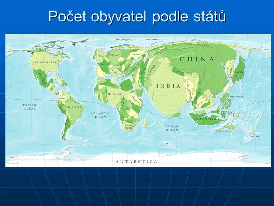 Počet obyvatel podle států
