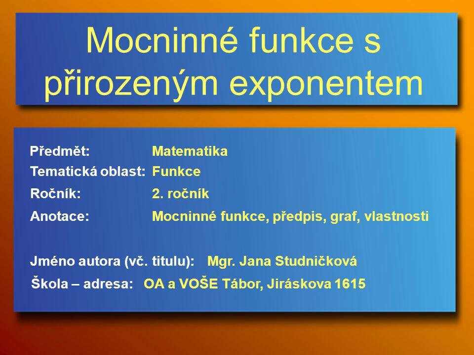 Mocninné funkce s přirozeným exponentem Jméno autora (vč.