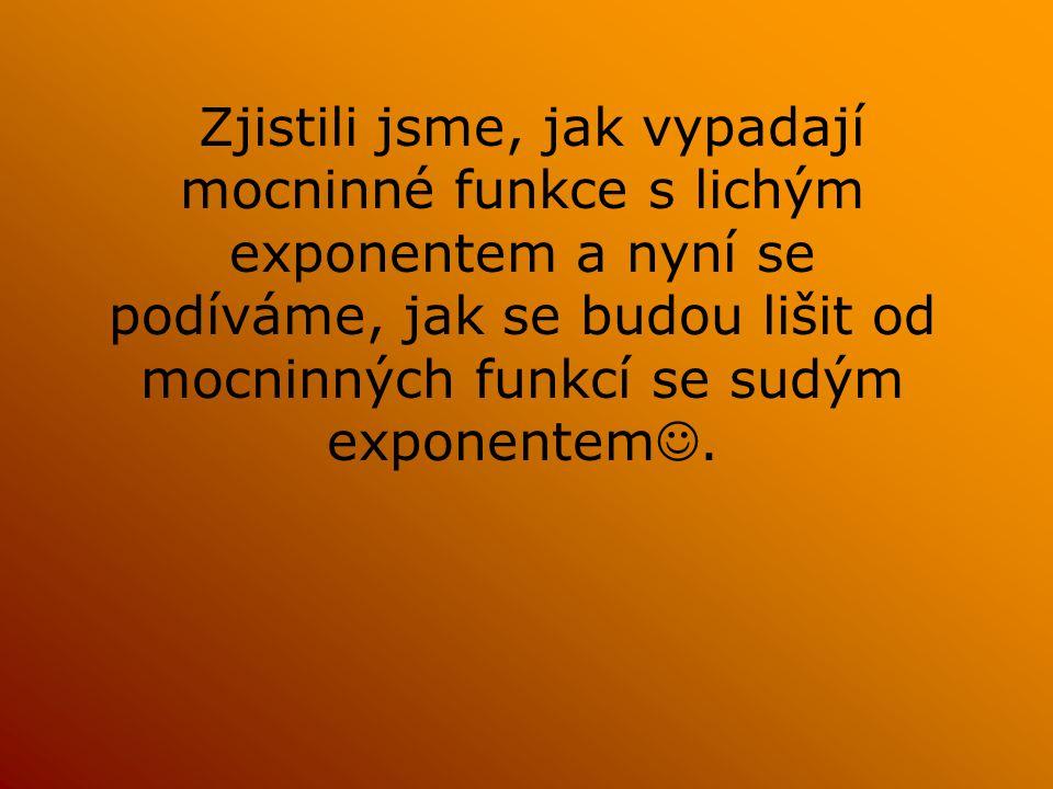 Zjistili jsme, jak vypadají mocninné funkce s lichým exponentem a nyní se podíváme, jak se budou lišit od mocninných funkcí se sudým exponentem.