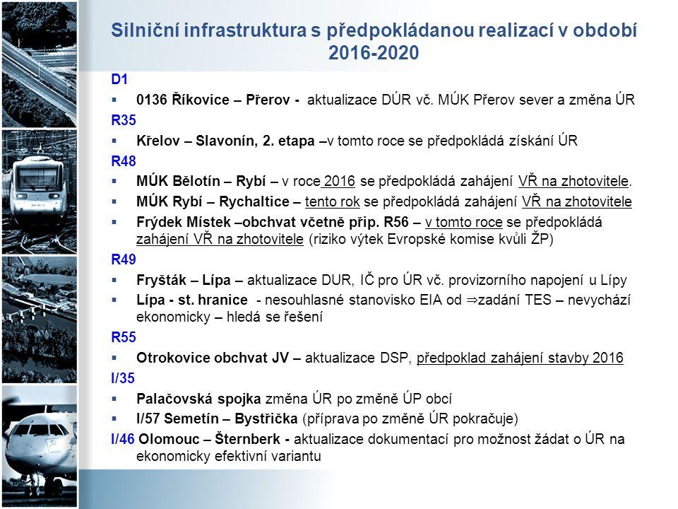 Silniční infrastruktura s předpokládanou realizací v období 2016-2020 D1  0136 Říkovice – Přerov - aktualizace DÚR vč. MÚK Přerov sever a změna ÚR R3