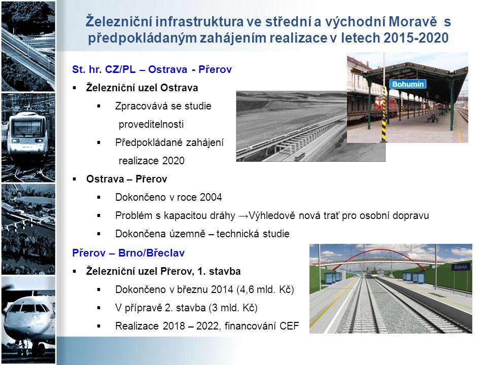 Železniční infrastruktura ve střední a východní Moravě s předpokládaným zahájením realizace v letech 2015-2020 St. hr. CZ/PL – Ostrava - Přerov  Žele
