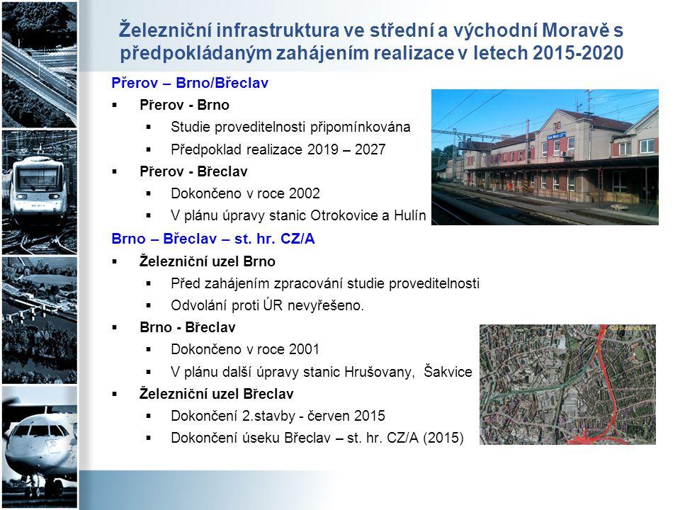 Železniční infrastruktura ve střední a východní Moravě s předpokládaným zahájením realizace v letech 2015-2020 Přerov – Brno/Břeclav  Přerov - Brno 