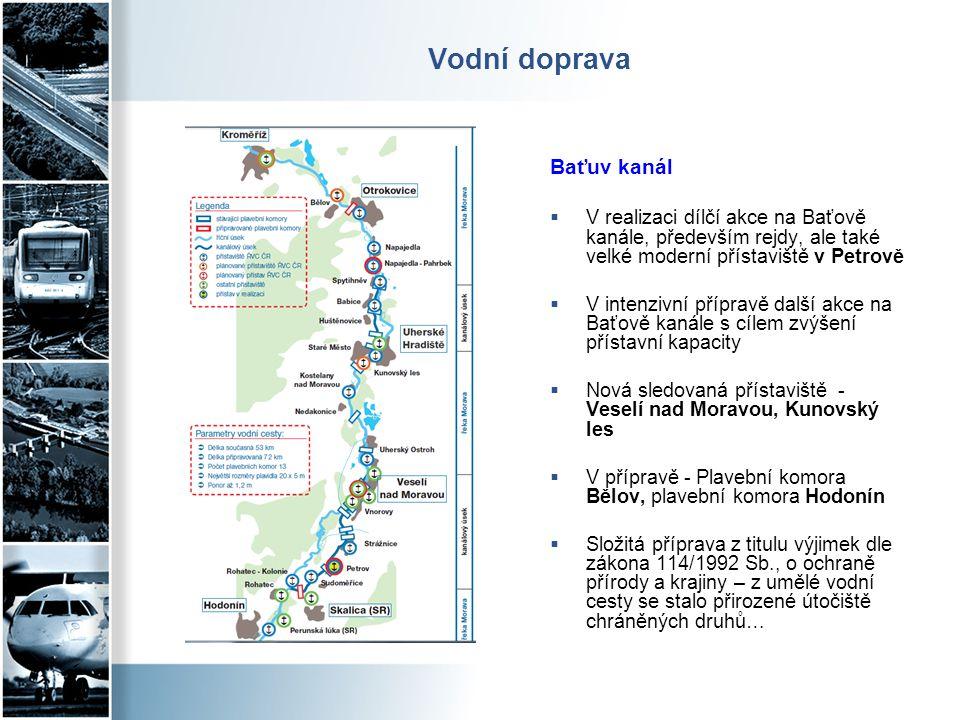 Vodní doprava Baťuv kanál  V realizaci dílčí akce na Baťově kanále, především rejdy, ale také velké moderní přístaviště v Petrově  V intenzivní příp