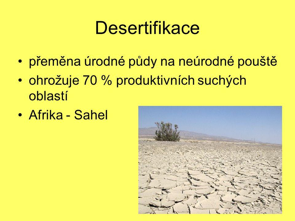 Desertifikace přeměna úrodné půdy na neúrodné pouště ohrožuje 70 % produktivních suchých oblastí Afrika - Sahel