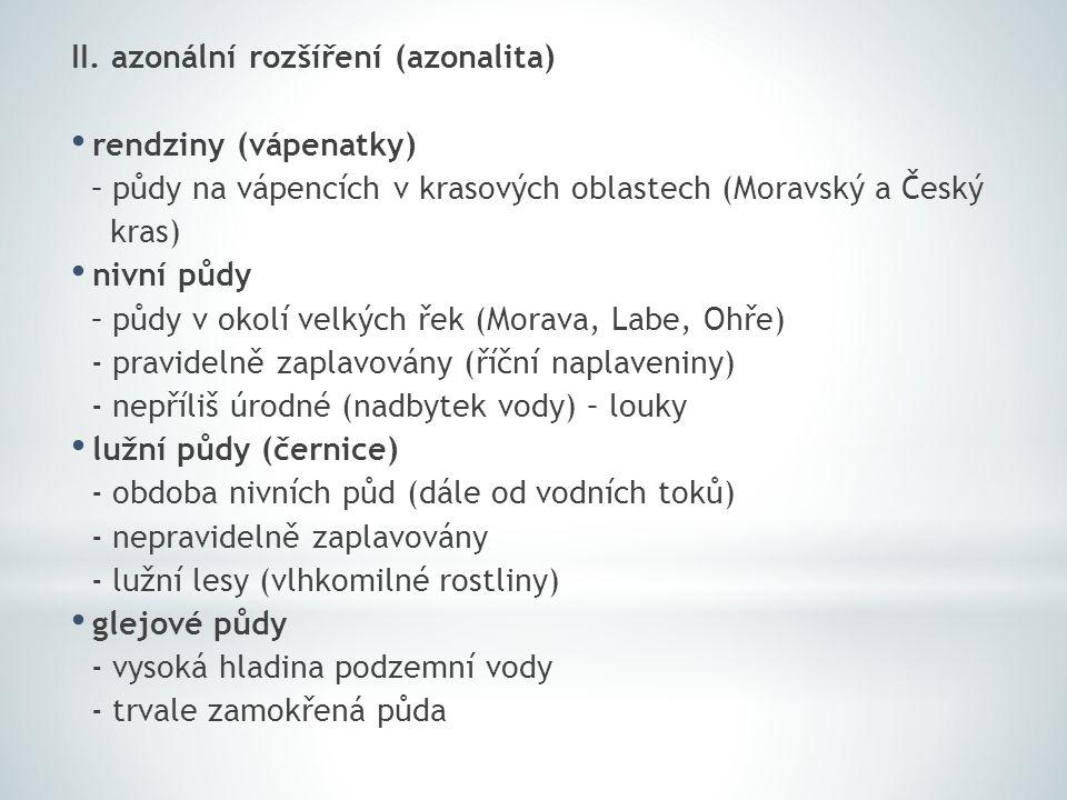 II. azonální rozšíření (azonalita) rendziny (vápenatky) – půdy na vápencích v krasových oblastech (Moravský a Český kras) nivní půdy – půdy v okolí ve