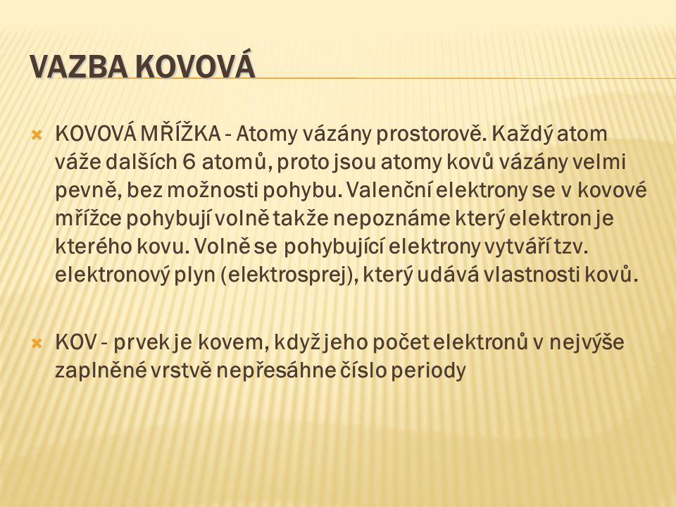 VAZBA KOVOVÁ  KOVOVÁ MŘÍŽKA - Atomy vázány prostorově.