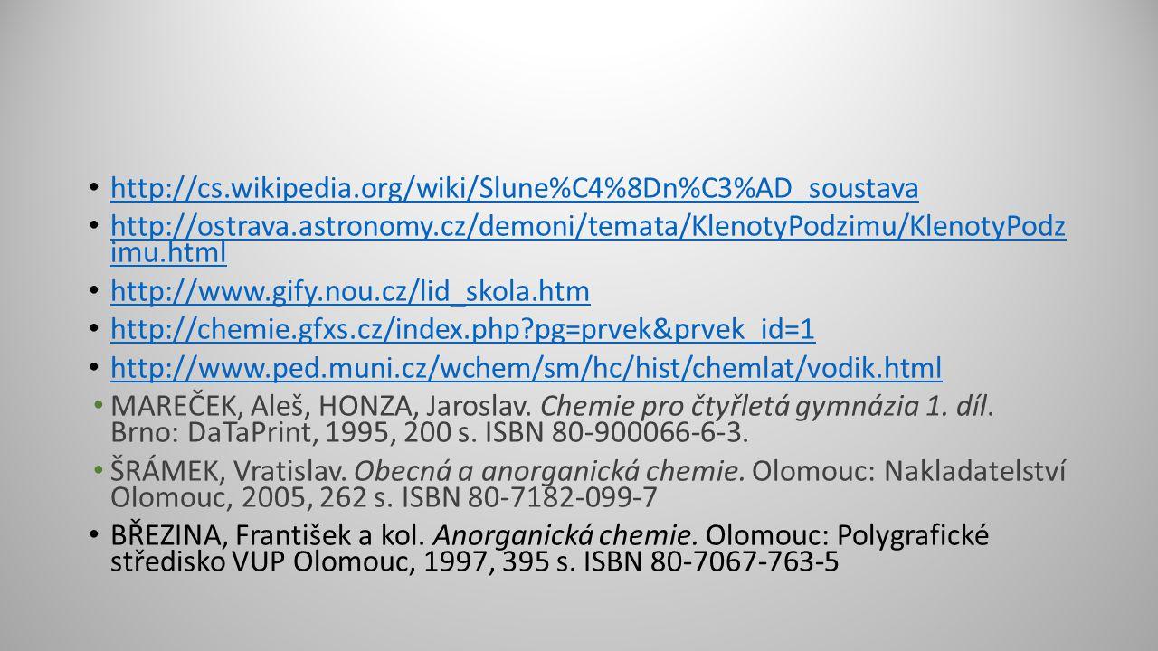 http://cs.wikipedia.org/wiki/Slune%C4%8Dn%C3%AD_soustava http://ostrava.astronomy.cz/demoni/temata/KlenotyPodzimu/KlenotyPodz imu.html http://ostrava.