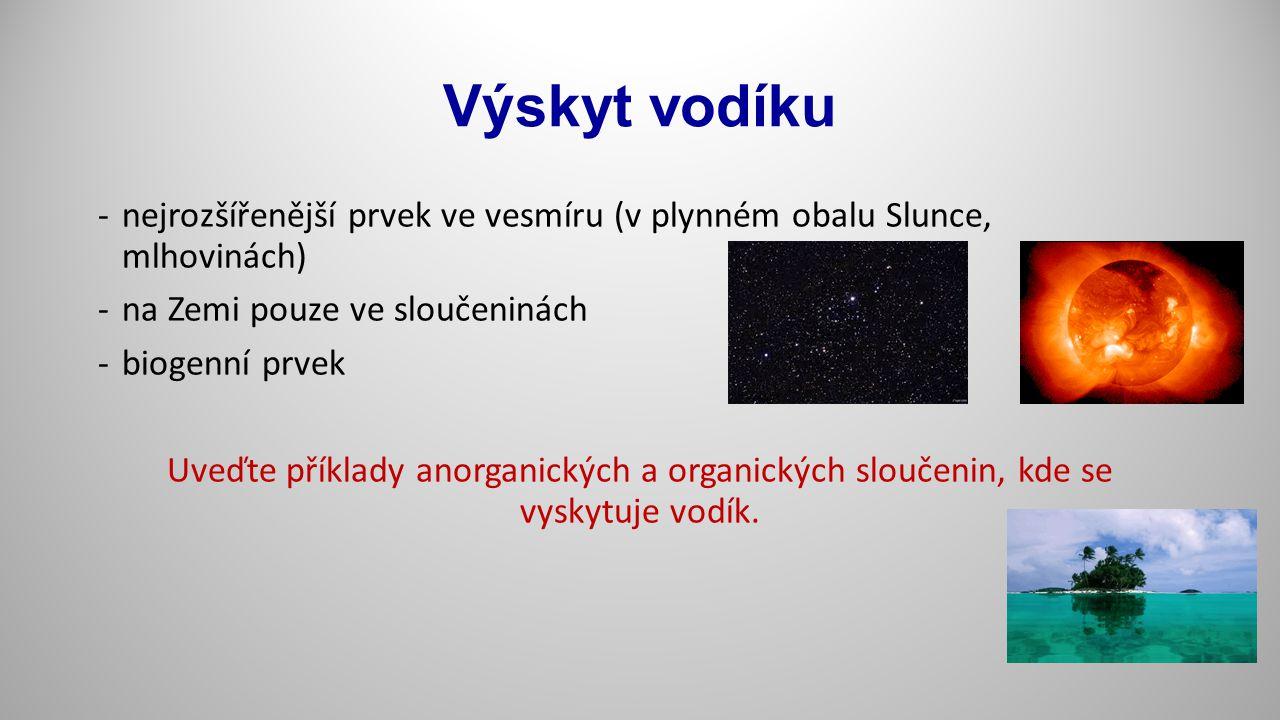 Sloučeniny vodíku b) kovové hydridy - látky kovového vzhledu, tvoří je prvky podskupiny chromu, triády železa a palladium - vodivé a polovodivé vlastnosti c) hydridy přechodného typu – podskupiny Cs, Ti, V, některé lanthanoidy a aktinoidy - vazby jsou přechodem mezi vazbami iontovými a kovovými - př.: TiH 1,75 d) molekulové hydridy – nekovy a polokovy IV.-VII.A, pevnost vazeb ve sloučeninách klesá s rostoucí atom.