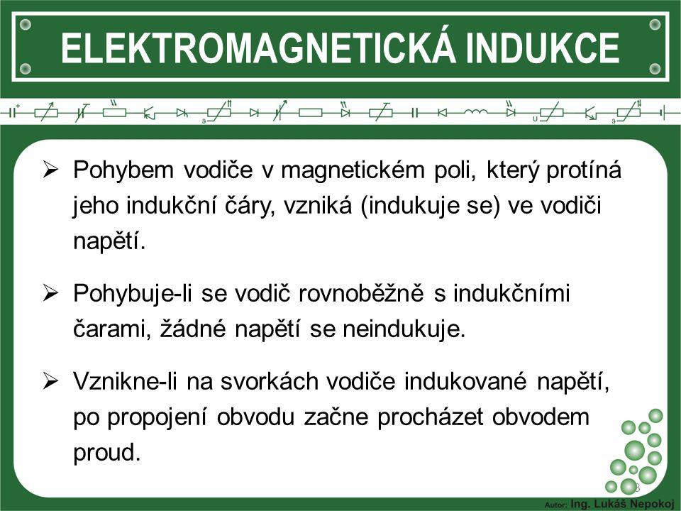 ELEKTROMAGNETICKÁ INDUKCE 3  Pohybem vodiče v magnetickém poli, který protíná jeho indukční čáry, vzniká (indukuje se) ve vodiči napětí.  Pohybuje-l