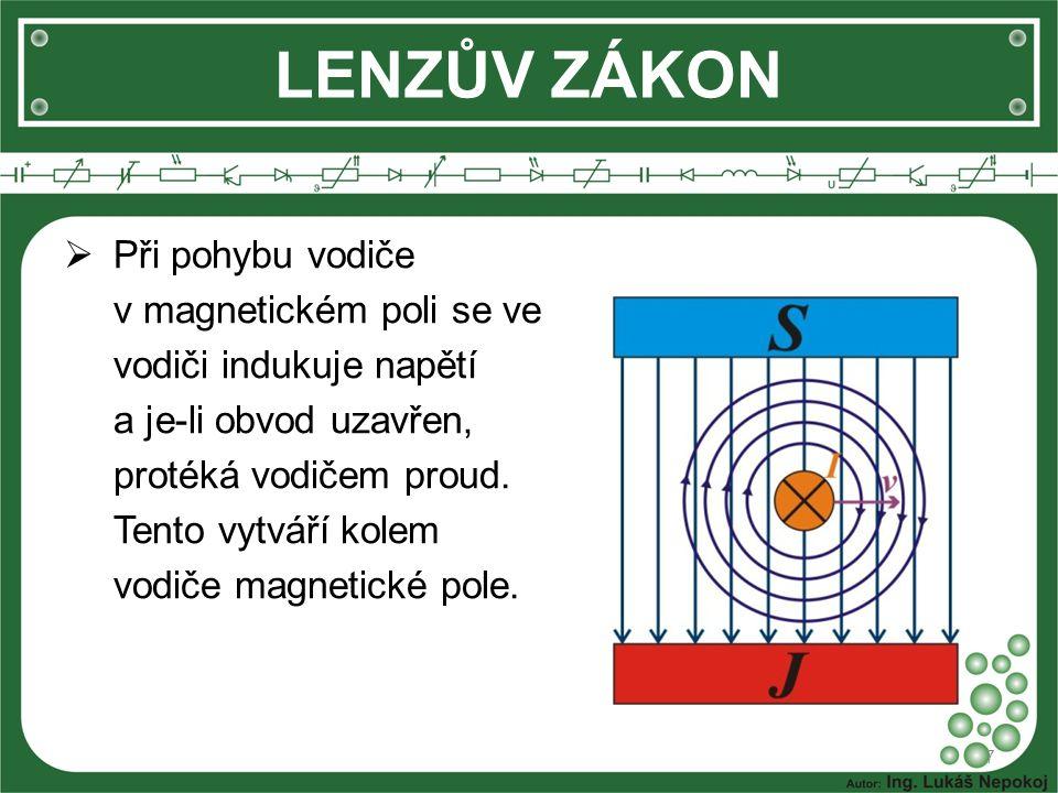 LENZŮV ZÁKON 8  Toto magnetické pole s původním magnetickým tokem vytvoří nové magnetické pole.