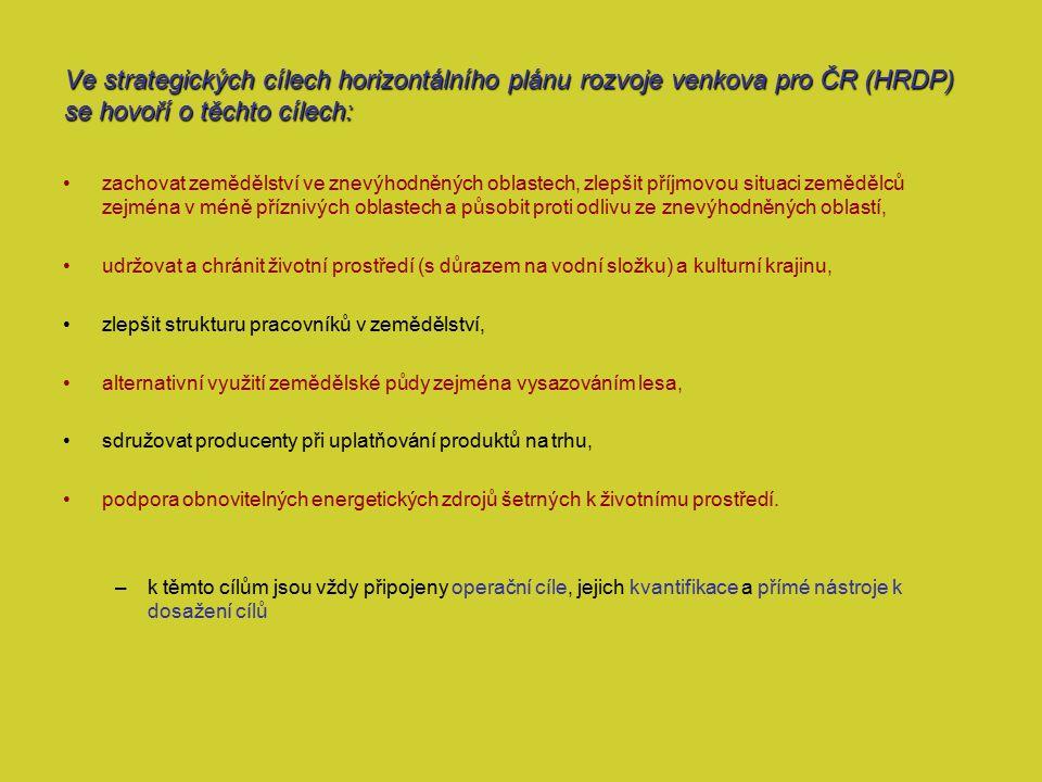 Ve strategických cílech horizontálního plánu rozvoje venkova pro ČR (HRDP) se hovoří o těchto cílech: zachovat zemědělství ve znevýhodněných oblastech