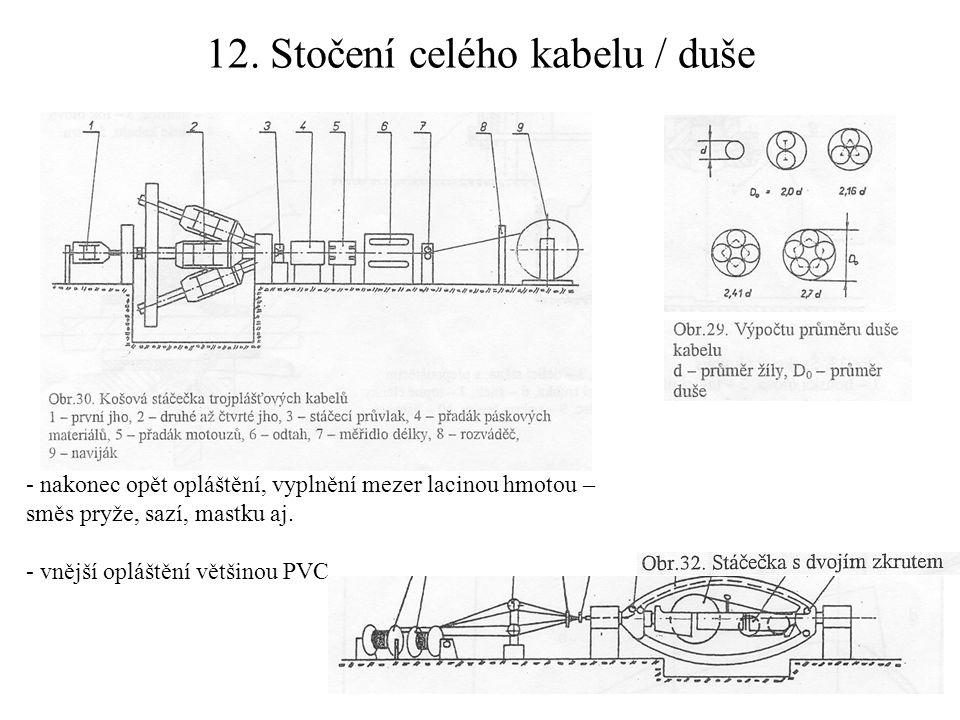 12. Stočení celého kabelu / duše - nakonec opět opláštění, vyplnění mezer lacinou hmotou – směs pryže, sazí, mastku aj. - vnější opláštění většinou PV