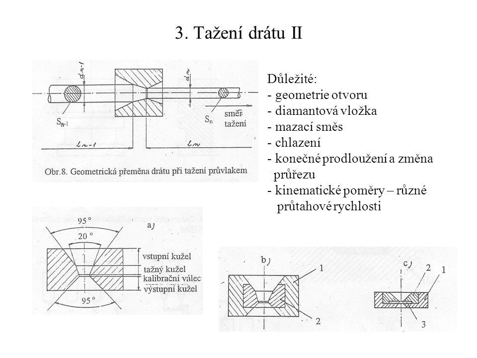 3. Tažení drátu II Důležité: - geometrie otvoru - diamantová vložka - mazací směs - chlazení - konečné prodloužení a změna průřezu - kinematické poměr