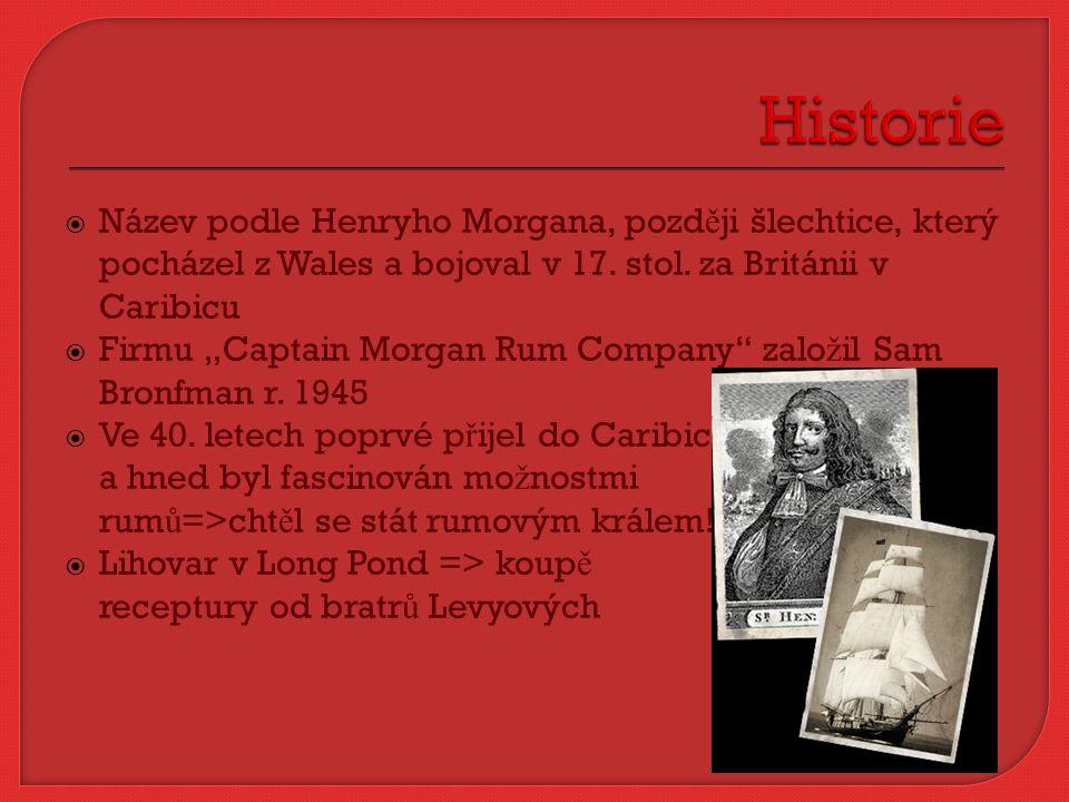 """ Název podle Henryho Morgana, pozd ě ji šlechtice, který pocházel z Wales a bojoval v 17. stol. za Británii v Caribicu  Firmu """"Captain Morgan Rum Co"""