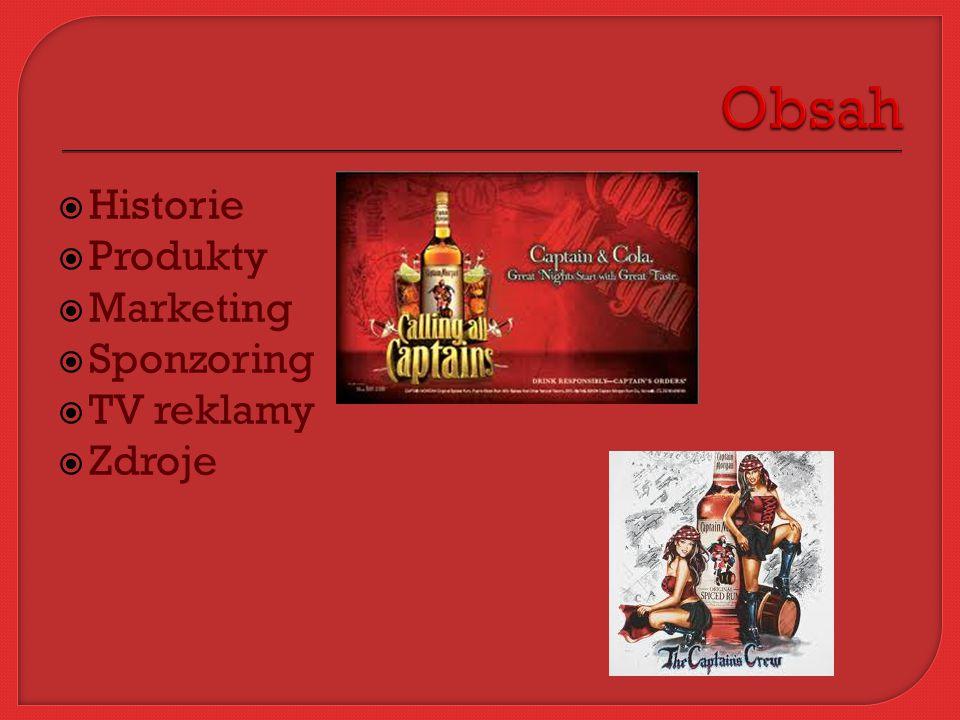  Historie  Produkty  Marketing  Sponzoring  TV reklamy  Zdroje