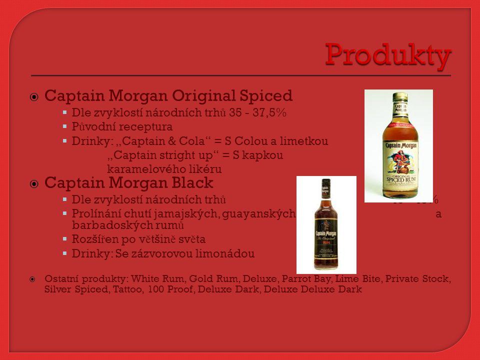" Captain Morgan Original Spiced  Dle zvyklostí národních trh ů 35 - 37,5%  P ů vodní receptura  Drinky: ""Captain & Cola"" = S Colou a limetkou ""Cap"