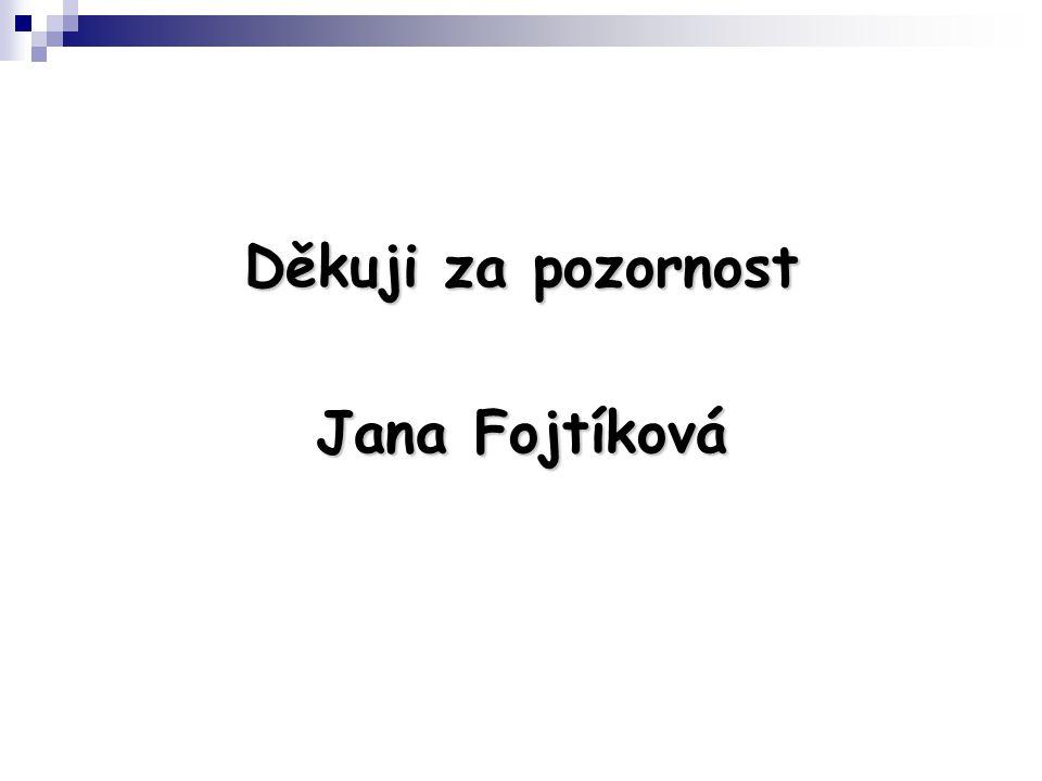 Děkuji za pozornost Jana Fojtíková