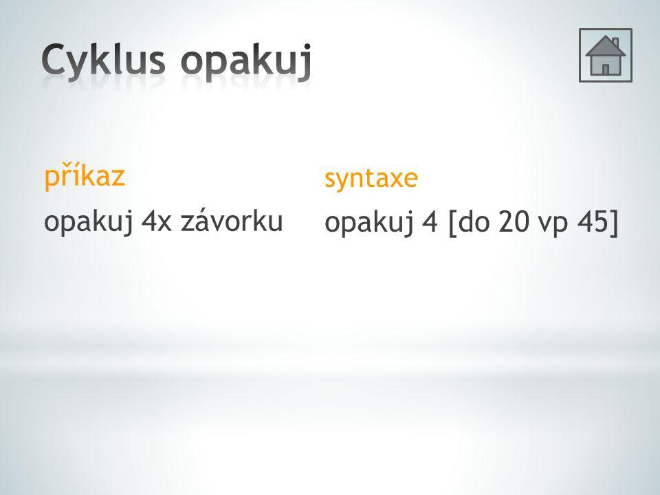 příkaz opakuj 4x závorku syntaxe opakuj 4 [do 20 vp 45]
