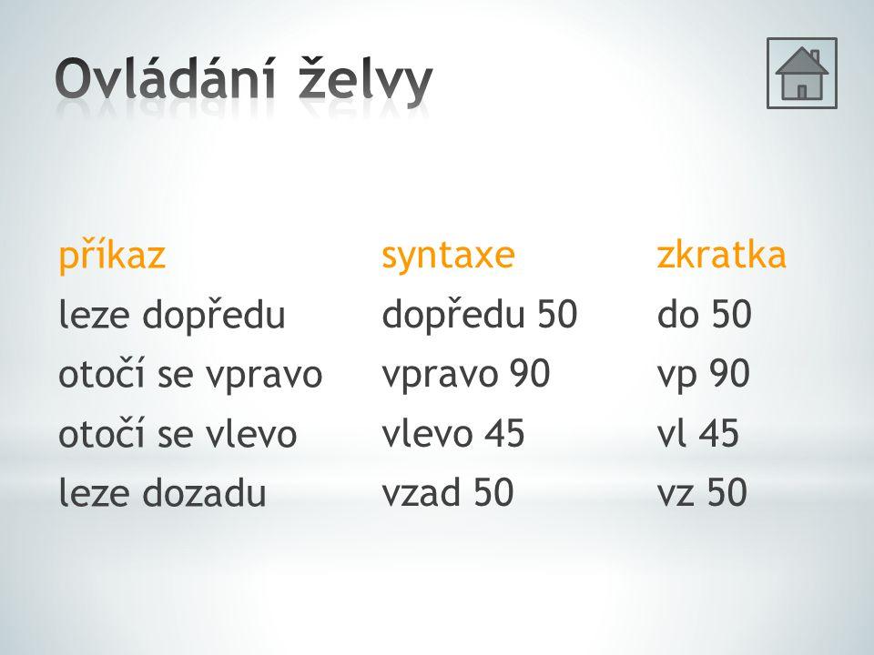 příkaz leze dopředu otočí se vpravo otočí se vlevo leze dozadu syntaxe dopředu 50 vpravo 90 vlevo 45 vzad 50 zkratka do 50 vp 90 vl 45 vz 50
