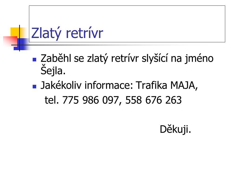 Zlatý retrívr Zaběhl se zlatý retrívr slyšící na jméno Šejla. Jakékoliv informace: Trafika MAJA, tel. 775 986 097, 558 676 263 Děkuji.