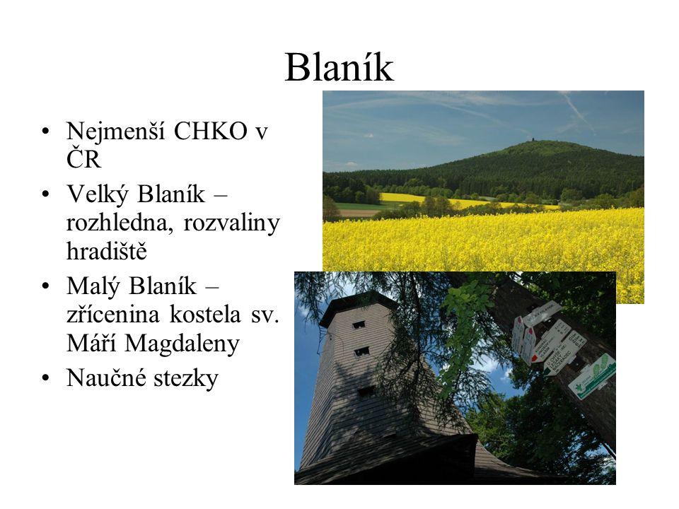 Blaník Nejmenší CHKO v ČR Velký Blaník – rozhledna, rozvaliny hradiště Malý Blaník – zřícenina kostela sv.