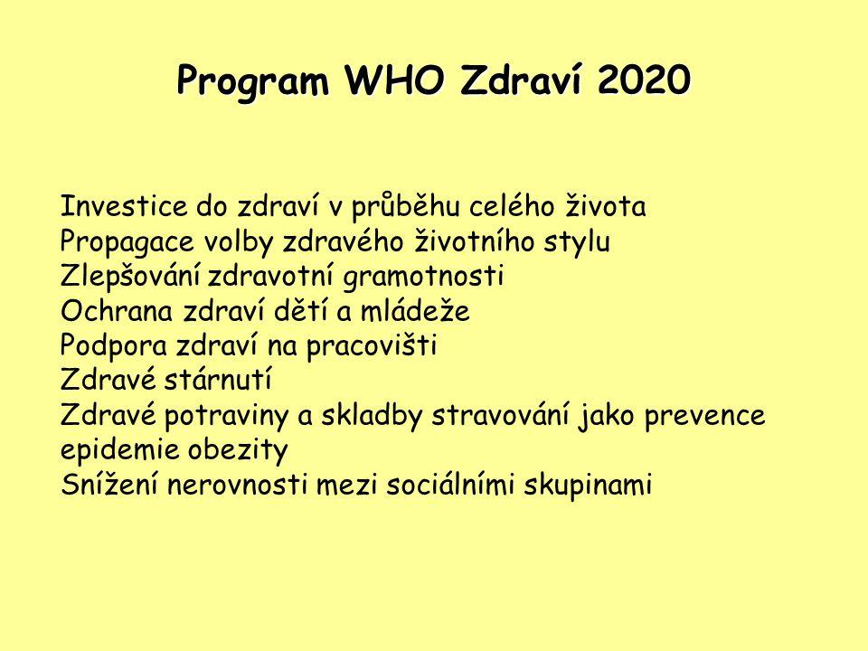 Program WHO Zdraví 2020 Investice do zdraví v průběhu celého života Propagace volby zdravého životního stylu Zlepšování zdravotní gramotnosti Ochrana
