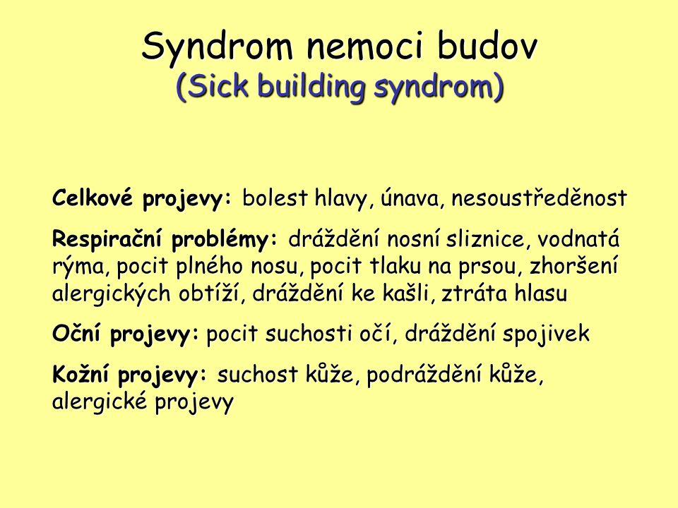 Syndrom nemoci budov (Sick building syndrom) Celkové projevy: bolest hlavy, únava, nesoustředěnost Respirační problémy: dráždění nosní sliznice, vodna