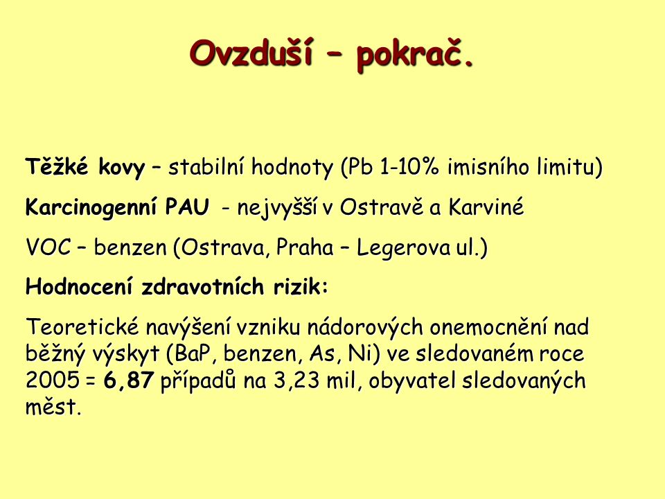 Ovzduší – pokrač. Těžké kovy– stabilní hodnoty (Pb 1-10% imisního limitu) Těžké kovy – stabilní hodnoty (Pb 1-10% imisního limitu) Karcinogenní PAU- n